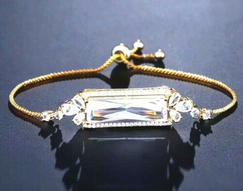 ELEGANT Gold Large CZ Baguette Adjustable Slider Cinch Bracelet