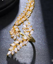 STATEMENT Gold Clear Long Leaf CZ Adjustable Cuff Cocktail Ring