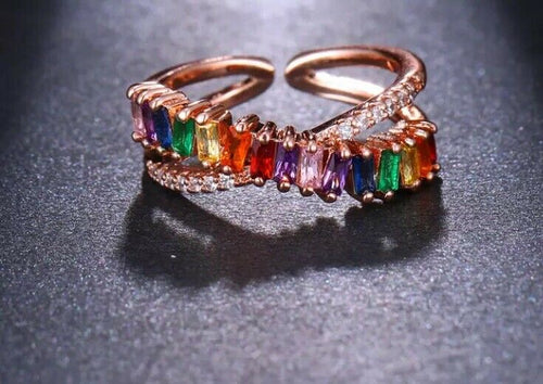 UNDERSTATED Rose Gold Multi Coloured CZ Adjustable Cuff Ring