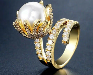 STATEMENT Gold Clear CZ Large Faux Pearl Adjustable Cocktail Ring
