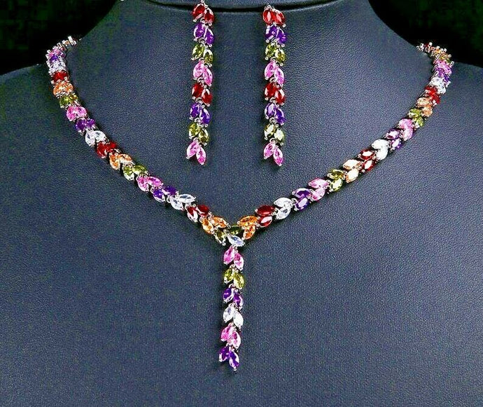 LUXE White Gold Multi Coloured Quality CZ Y Cocktail Necklace Set