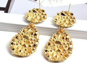 BEAUTIFUL STATEMENT Gold AB Crystal Big Cocktail Earrings