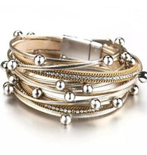 Layered Super Shine leather Gold Silver Magnetic Wrap Bracelet