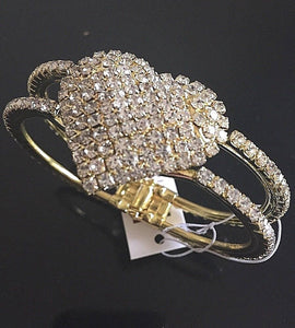 Gold Clear Crystal Heart Hinge Bangle Bracelet