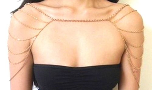 Gold Light Weight Shoulder Upper Arm Necklace Body Chain