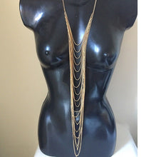 Statement Gold Long Layered Necklace Body Chain