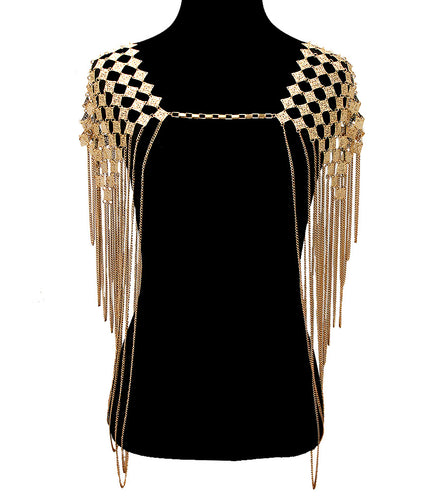 LUXE Statement Gold Full Shoulder Necklace Body Chain
