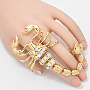 Gold Scorpion AB Crystal 2 Finger Huge Stretch Ring