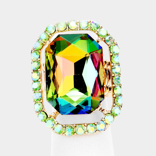 BIG Gold Vibrant Vitrail AB Crystal Stretch Cocktail Ring