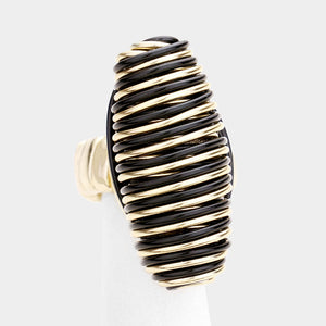 UNUSUAL Gold Black Huge Long Stretch Wire Coiled Cocktail Ring