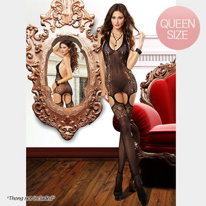 PREMIUM QUALITY Black Victorian Lace Print Bodystocking