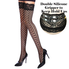 Premium Quality Chevron Net & Lace Top Hold Ups Stockings