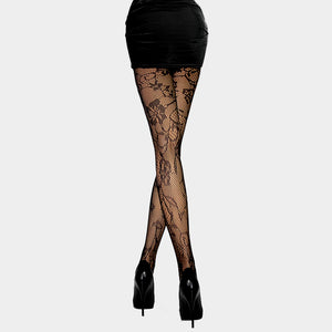 Black Floral Pattern Fishnet Pantyhose Tights