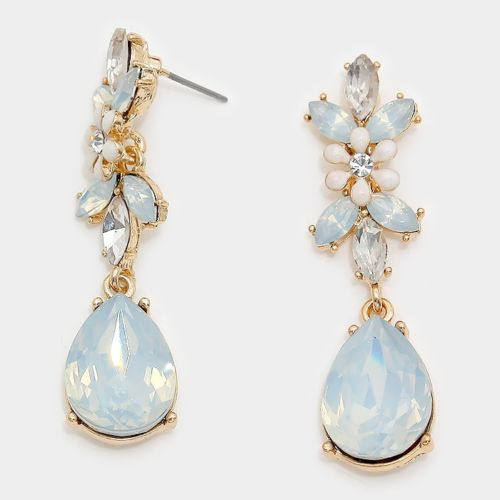 Gold White Opal Crystal 2 inch Cocktail Earrings
