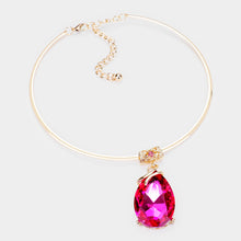 LUSH Statement Gold Fuchsia Pink Crystal Choker Necklace Set