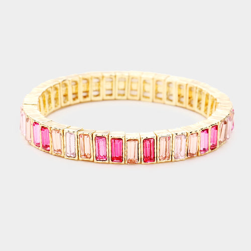 SOPHISTICATED Gold Pink Shades Crystal Stretch Cocktail Bracelet