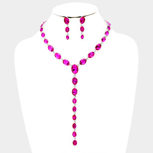 BEAUTIFUL Glam Pink Fuchsia Crystal Silver Long Y Necklace Set