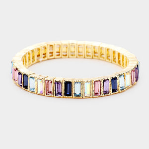 BEAUTIFUL Gold Purple Shades Crystal Stretch Cocktail Bracelet