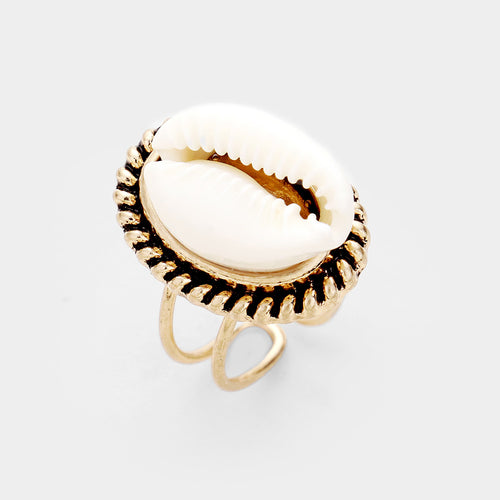 POPULAR Gold Cream Puka Shell Adjustable Cuff Ring
