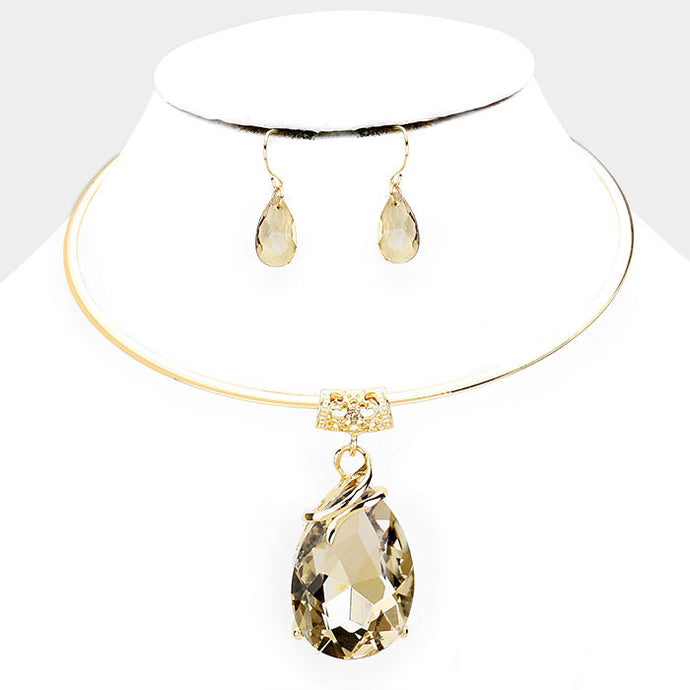LUSH Statement Gold Topaz Brown Crystal Choker Necklace Set