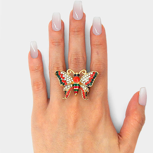 BIG Butterfly Gold Green Red Crystal Stretch Cocktail Ring