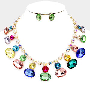 LUXE Gorgeous Gold AB Multi Vibrant Crystal Cocktail Necklace Set