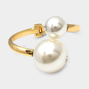 STATEMENT Gold Big Cream Pearl Cuff hinged Bangle