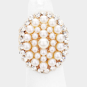 WHIMSICAL Gold Crystal Cream Pearl Stretch Cocktail Ring