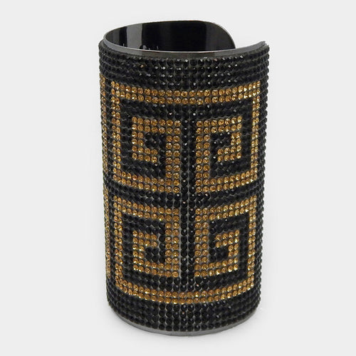 Glam Oversized Long Gold Black Crystal Cuff Bangle