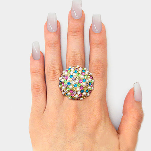 Gold Multi Coloured Crystal Pearl Huge Dome Stretch Cocktail Ring