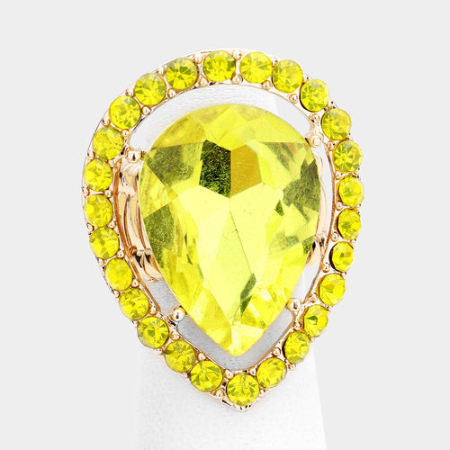 BIG Gold Yellow Jonquil Teardrop Crystal Stretch Cocktail Ring