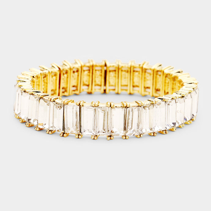 SOPHISTICATED Gold Clear Crystal Stretch Cocktail Bracelet