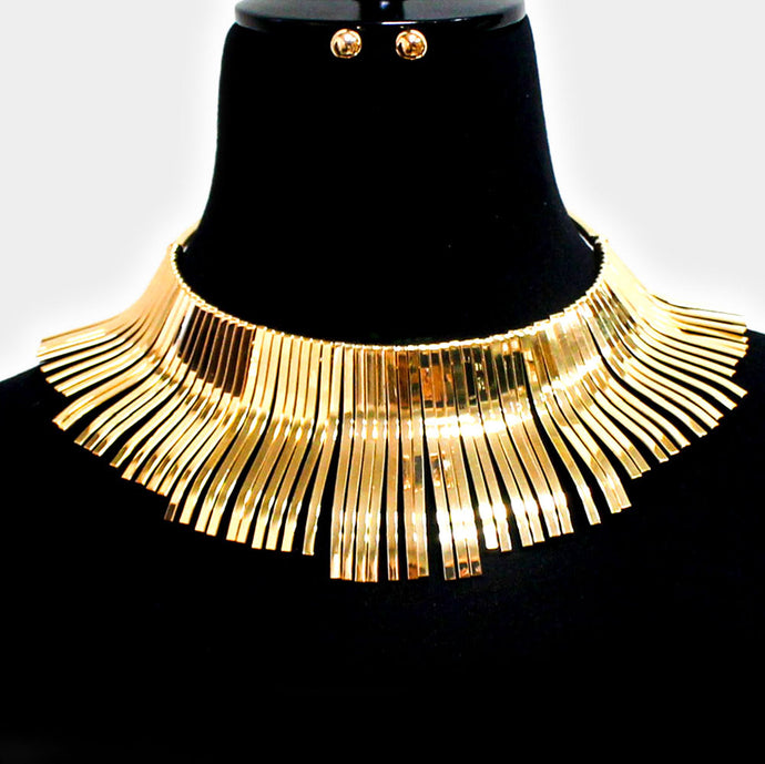 HOT Celeb Statement Gold Metal Fringe Design Choker Necklace Set