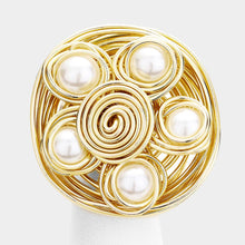 FABULOUS Gold Crystal Cream Pearl Huge Stretch Cocktail Ring