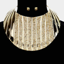HOT Statement Gold Druzy Crystal Curved Bib Choker Necklace Set