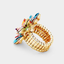 GLAM Gold Huge Multi Crystal Stretch Cocktail Ring