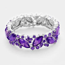 WHIMSICAL Silver Vibrant Purple Crystal Stretch Cocktail Bracelet