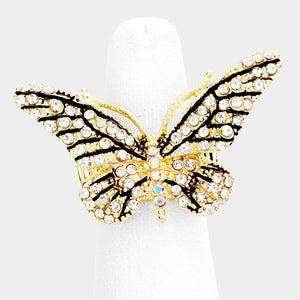 HUGE Butterfly Gold Black Clear Crystal Stretch Cocktail Ring
