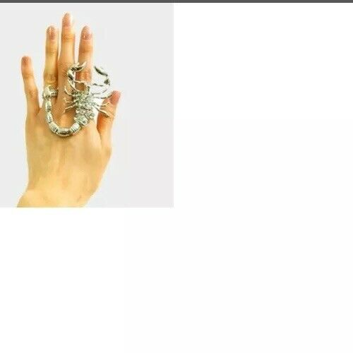 Silver Scorpion Crystal 2 Finger Huge Stretch Ring