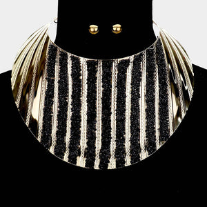 Statement Gold Black Druzy Crystal Curved Bib Choker Necklace Set
