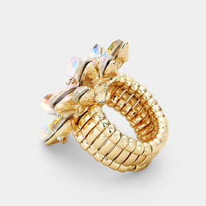 STATEMENT GLAM Gold Huge AB Crystal Stretch Cocktail Ring