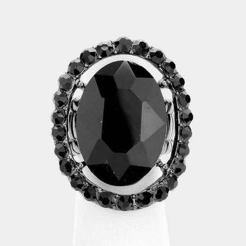 Big Oval Black Jet Crystal Stretch Cocktail Ring