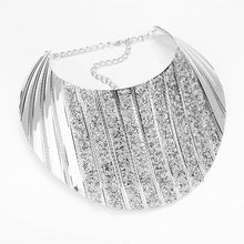 Statement Silver Druzy Crystal Curved Bib Choker Necklace Set