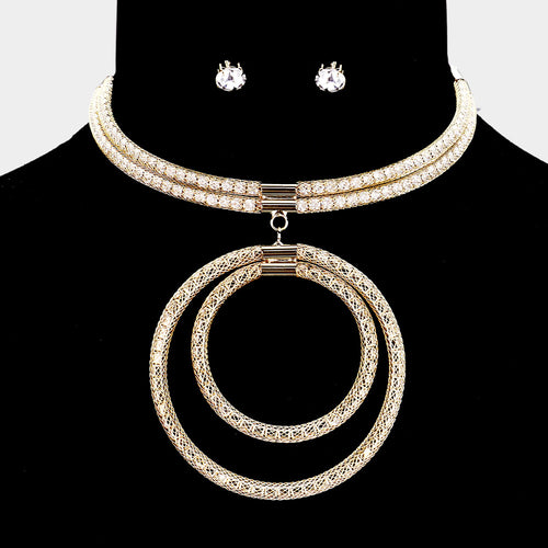 Statement Glam Unusual Gold Crystal Circles Choker Necklace Set
