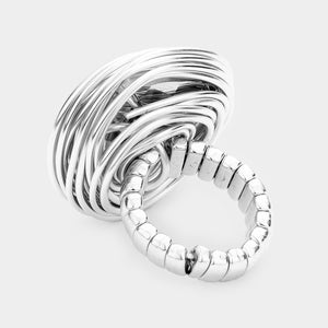 Silver Black Diamond Crystal Stretch Wire Coiled Cocktail Ring