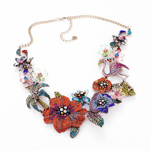 LUXE Statement Gold Multi Crystal Flamingo Cocktail Necklace Set