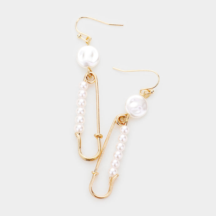 UNUSUAL Statement Quirky Gold White Pearl Safety Pin Earrings