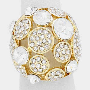 LUXE STATEMENT Gold Crystal BIG Dome Bubble Stretch Cocktail Ring