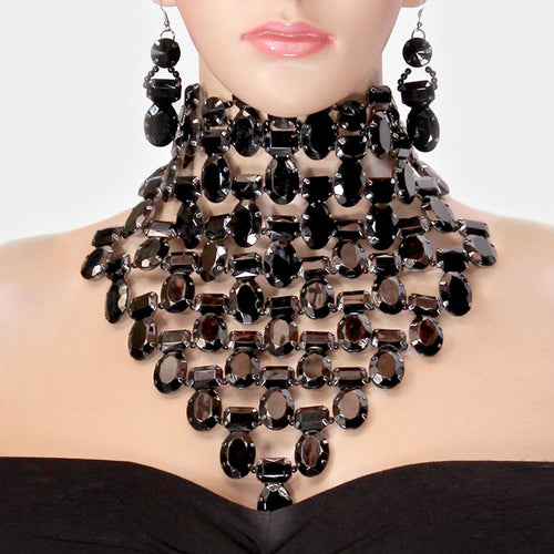 SPECTACULAR Couture Hematite Crystal Choker Cocktail Necklace Set