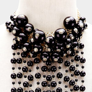 LUXE Statement Gold Black Pearl Bib Choker Long Necklace Set